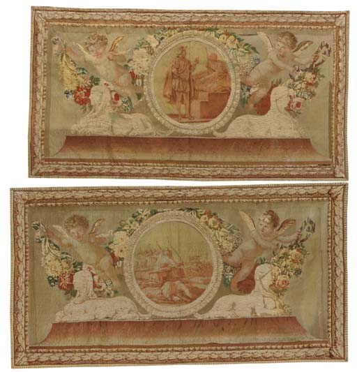 A PAIR OF FRENCH TAPESTRY OVER