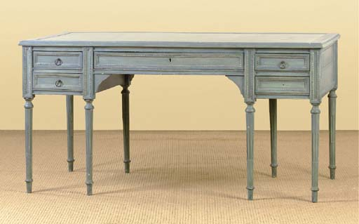 A FRENCH BLUE-PAINTED BUREAU P