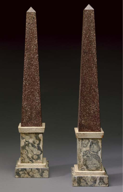 A PAIR OF FAUX PORPHYRY AND FA