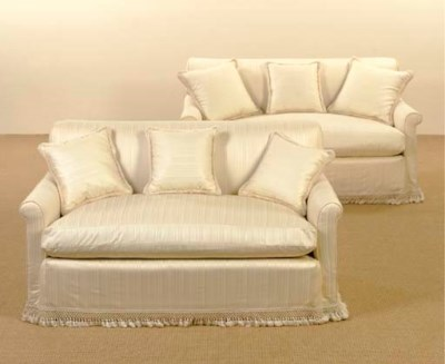 A PAIR OF UPHOLSTERED SILK SOF