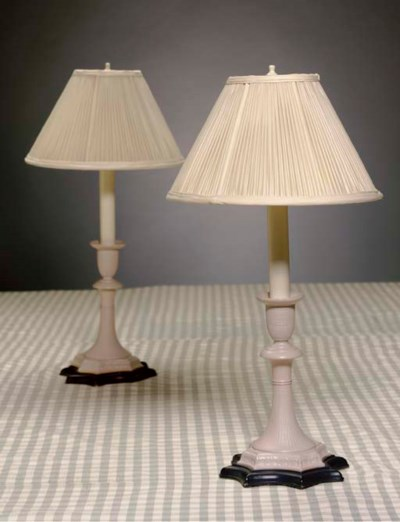 A PAIR OF PALE PINK-PAINTED CE