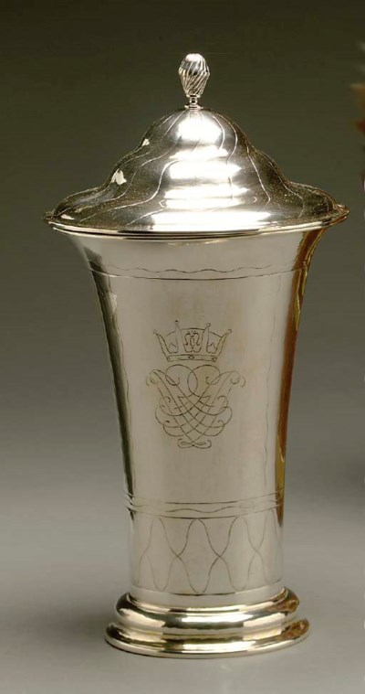 A SWEDISH SILVER COVERED URN