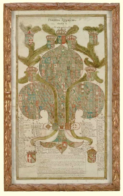 A HAND COLORED GENEALOGICAL RE