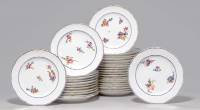 THIRTY-TWO SEVRES PLATES