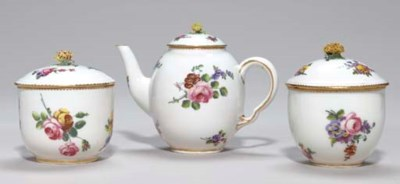 A SEVRES TEAPOT AND COVER AND