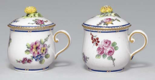 TWO SEVRES POTS A CREME AND CO