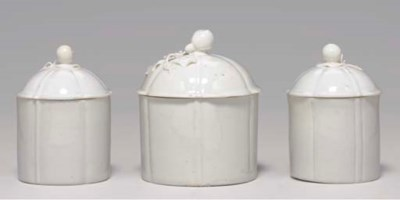 THREE MENNECY POMMADE POTS AND