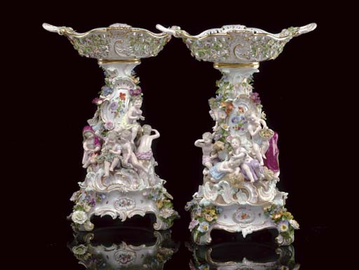 A PAIR OF MEISSEN RETICULATED