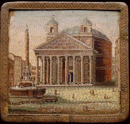 A framed Roman micromosaic pla