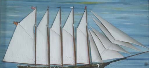 A shadow box of a five-masted