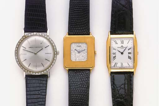 A GROUP OF THREE GOLD WRISTWATCHES, BY PIAGET, GIRRAD PERREGAUX AND BAUME & MERCIER