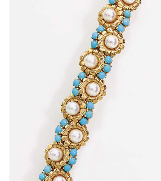 A CULTURED PEARL, TURQUOISE AN