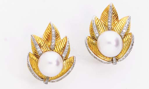 A PAIR OF CULTURED PEARL, DIAMOND AND 14K GOLD EAR CLIPS