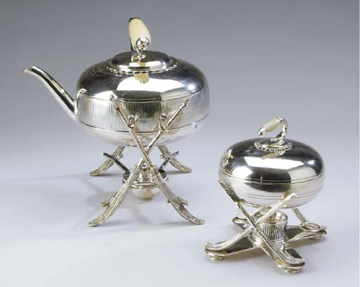 A VICTORIAN SILVER-PLATED HOT WATER KETTLE-ON-STAND AND A MATCHING SILVER-PLATED EGG CODDLER**,
