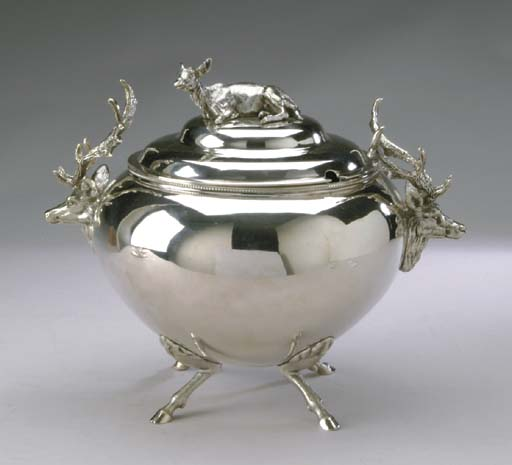 AN ENGLISH SILVER-PLATED SOUP