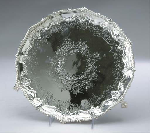 THREE SILVER-PLATED CIRCULAR FOOTED SALVERS,