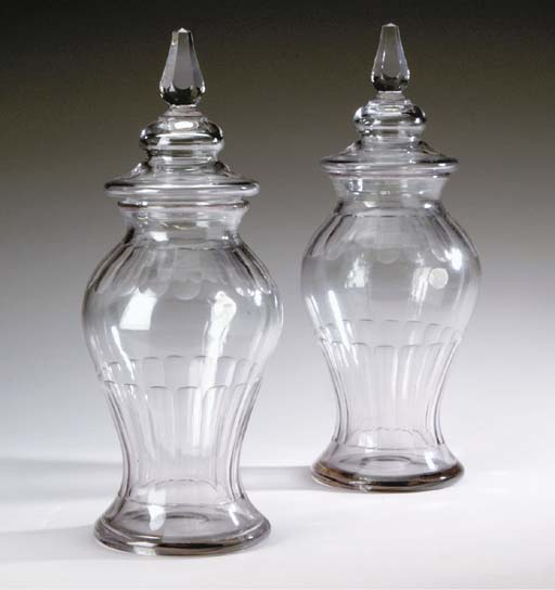 A PAIR OF ENGLISH GLASS VASES