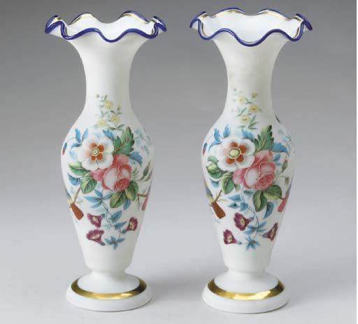 A PAIR OF CONTINENTAL PAINTED SATIN OPAQUE-WHITE GLASS VASES,