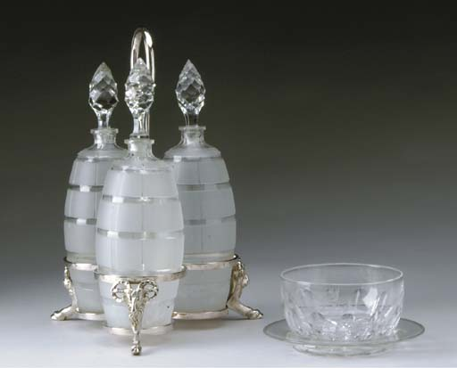 A SET OF SEVEN ENGRAVED AND CUT-GLASS FINGERBOWLS AND SAUCERS,