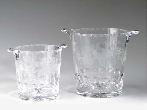 TWO PAIRS OF CUT AND ENGRAVED GLASS WINE COOLERS,