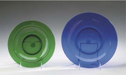 AN EMERALD-GREEN GLASS PART DINNER SERVICE,