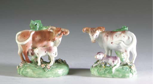 A GROUP OF ENGLISH PEARLWARE MODELS OF ANIMALS,