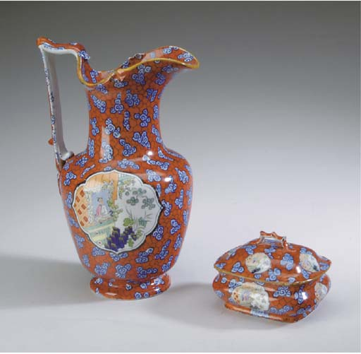 A STAFFORDSHIRE EWER, BASIN, MUG, AND SOAP BOX AND COVER,