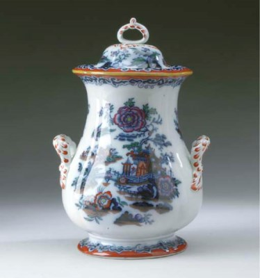 AN ENGLISH IRONSTONE COVERED P