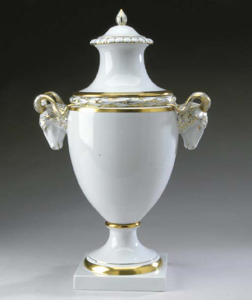 A GERMAN PORCELAIN URN AND COV