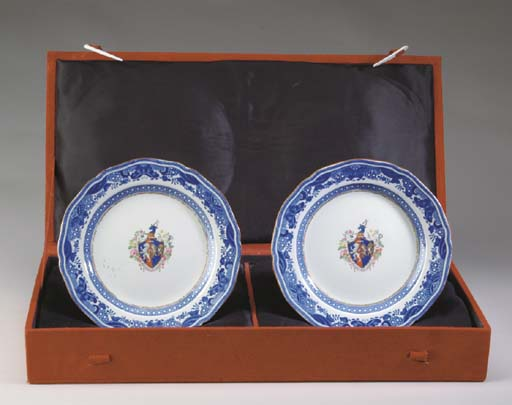 A PAIR OF SPODE ARMORIAL PORCE