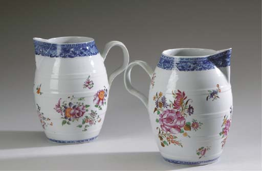 TWO SIMILAR CHINESE EXPORT PORCELAIN CIDER JUGS,