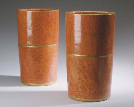 A PAIR OF CHINESE PORCELAIN FAUX BOIS CYLINDRICAL VASES,