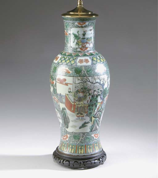 A PAIR OF CHINESE PORCELAIN VASES MOUNTED AS LAMPS,