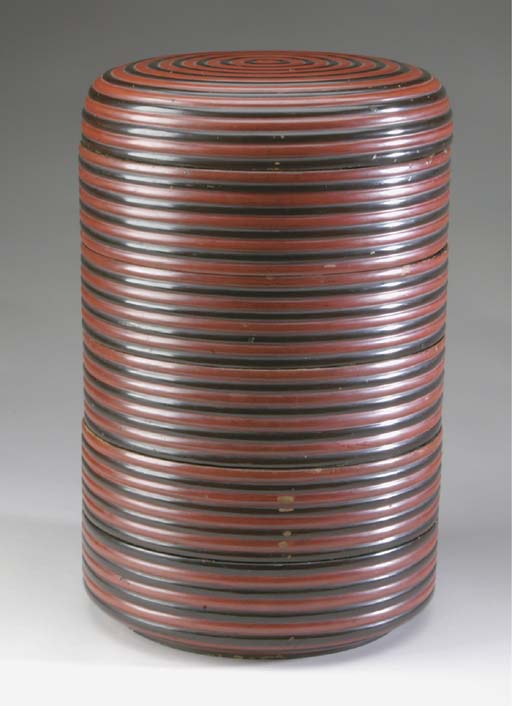 THREE JAPANESE LACQUER COVERED