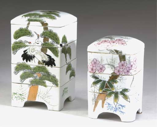 SIX JAPANESE PORCELAIN COVERED