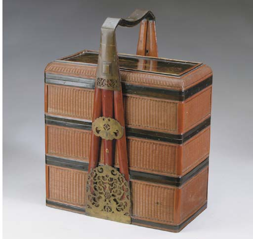 A GROUP OF JAPANESE LACQUERED AND SPLIT-BAMBOO COVERED BASKETS,