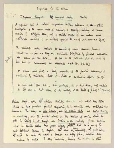 AUDEN, W.H. Autograph manuscri