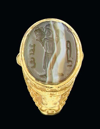 A SASANIAN BANDED AGATE RING S