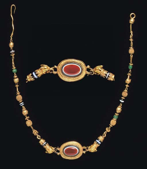 A GREEK GOLD, GLASS, AND STONE NECKLACE