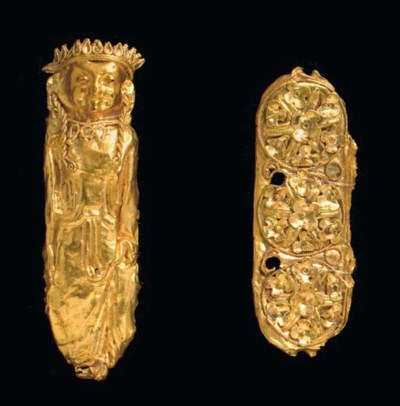 TWO ETRUSCAN GOLD APPLIQUES
