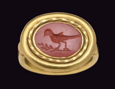 A ROMAN RED JASPER RING STONE