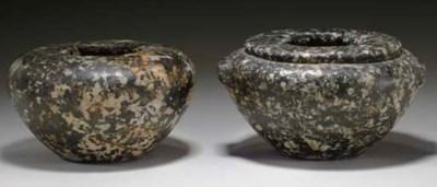 TWO EGYPTIAN GRANODIORITE VESS
