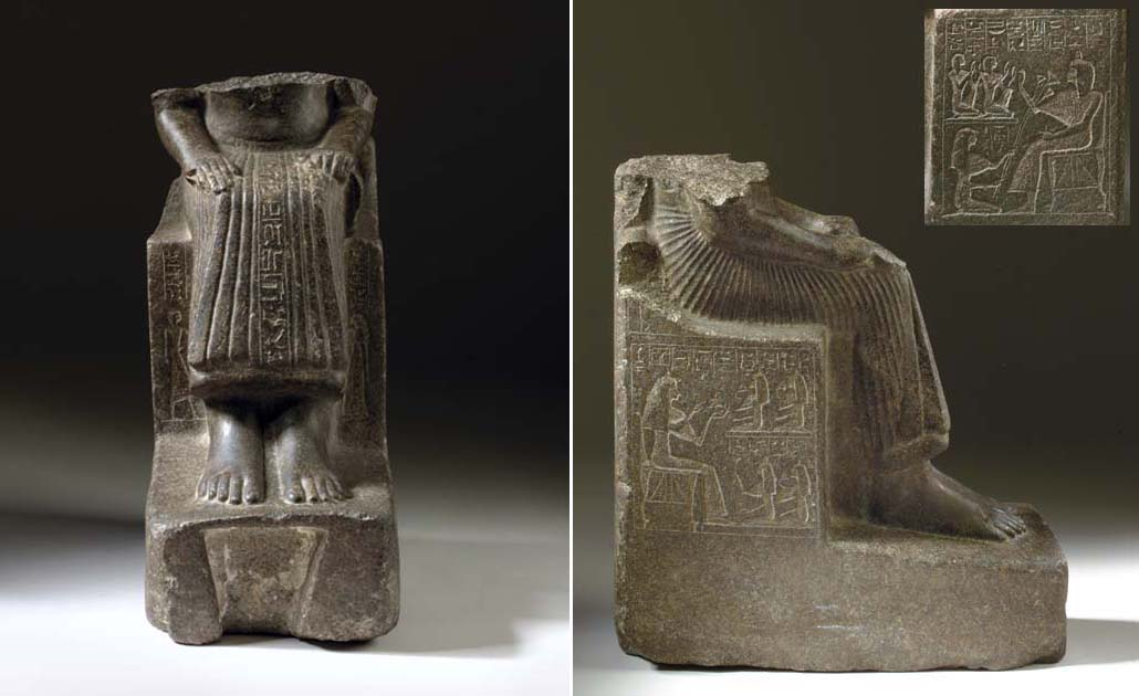 A FRAGMENTARY EGYPTIAN GRANODIORITE STATUE OF TJAWY