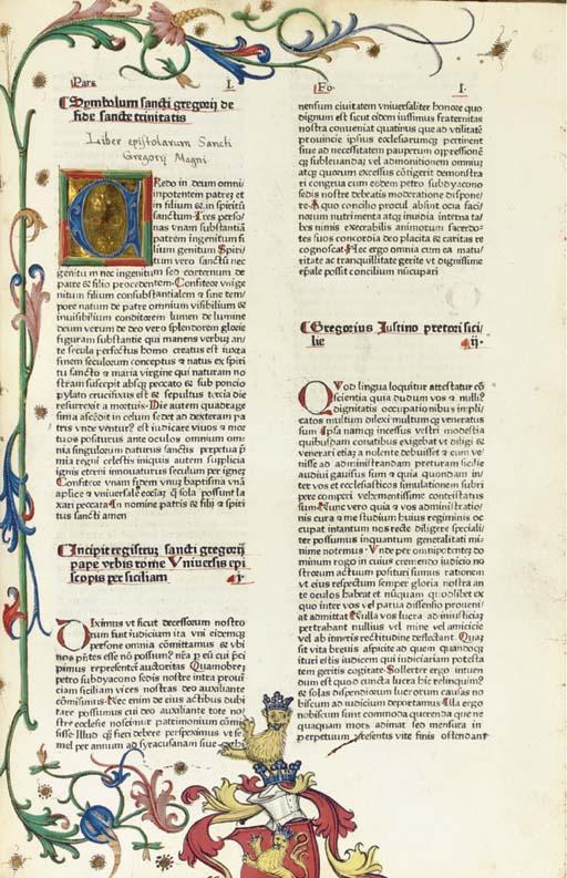 GREGORIUS I (Saint, ca. 540-604, pope 590-604). Epistolae. [Augsburg: Günther Zainer, not after 1476].