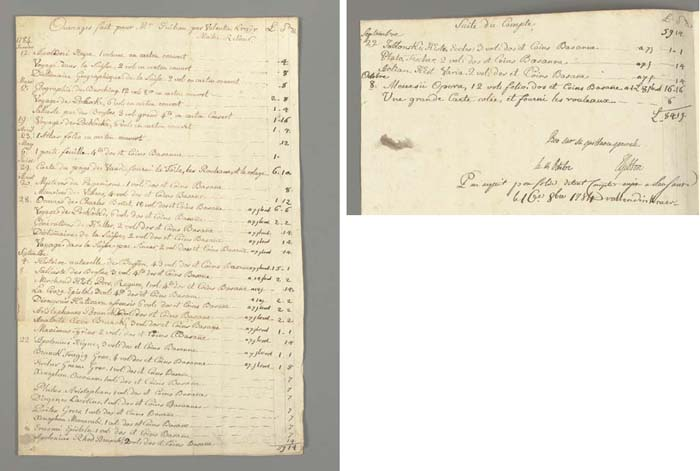 KRAER, Valentin (bookbinder). Manuscript bill to the historian Edward Gibbon, author of The Decline and Fall of the Roman Empire, for binding 37 works in 170 volumes (paper boards [carton couvert] or half roan [dos et coins basane]), making one portfolio and mounting two maps, at a total cost of 84 Swiss livres and 19 sous. Headed Ouvrages fait pour Mr. Guibon per Valentin Kraër, Maitre Relieur, the bill carries Gibbon's signed autograph instruction to his local banker dated 14th October and the binder's signed autograph receipt dated from Lausanne, 16th October 1784.