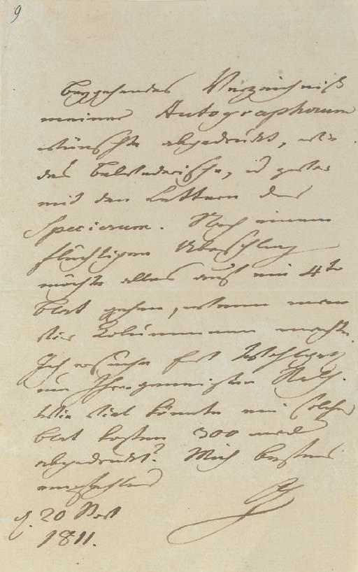 "GOETHE. Johann Wolfgang von (1749-1832). Letter signed ""G"" [to the printer Carl Bertuch. Weimar], dated 20th November 1811."