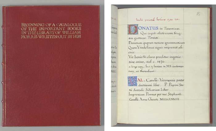MORRIS, William (1834-96). Catalogue of the books of William Morris at Kelmscott House. -- The Tale of Haldor. Hammersmith, c. 1890.