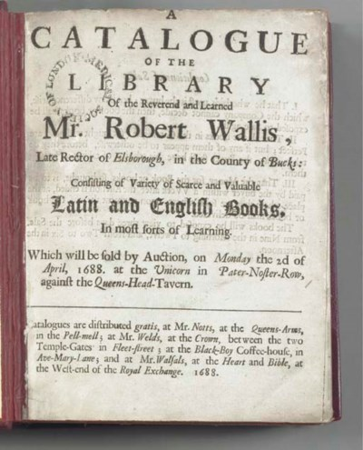 ENGLISH AUCTIONS, 17TH-CENTURY
