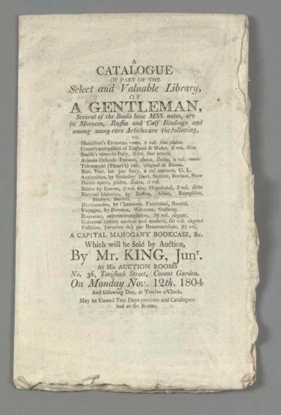 KING, Thomas, auctioneer. A co