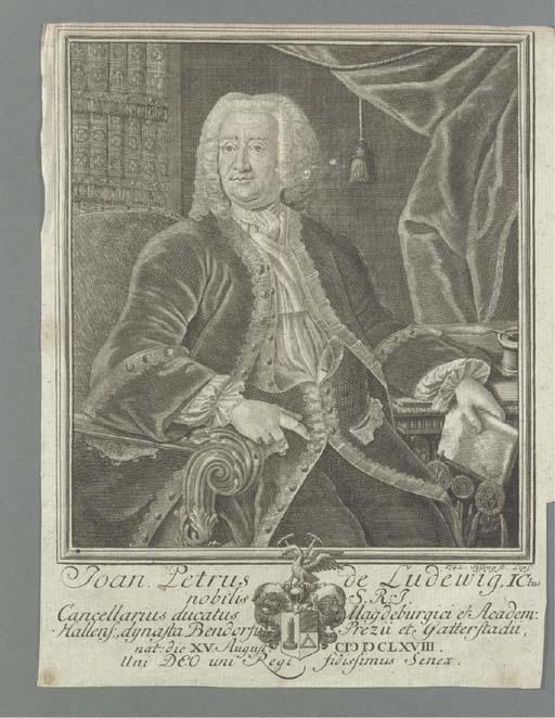 LUDEWIG, Johann Peter von (1668-1743)  -- MICHAELIS, Johann David (1717-1791). Catalogus praestantissimi thesauri librorum typis vulgatorum, et manuscriptorum, Joannis Petri de Ludewig... Publicae auctionis lege finitis nundinis Lipsiensium vernalibus 1746... Parts 1-4.  Halle: (Ernst Matthias) Lüderwald, 1745. - [Bound with:] Catalogus Manuscriptorum --  Index auctorum -- Praetia Auctionis Bibliothecae Ludewigianae venditae. Halle: Impensis Bibliopoli Luderrwaldiani [sic], 1746.